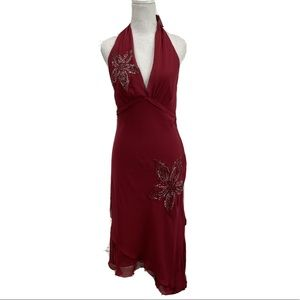 BCBGMaxAzria Halter Sequin Silk Dress Size 10